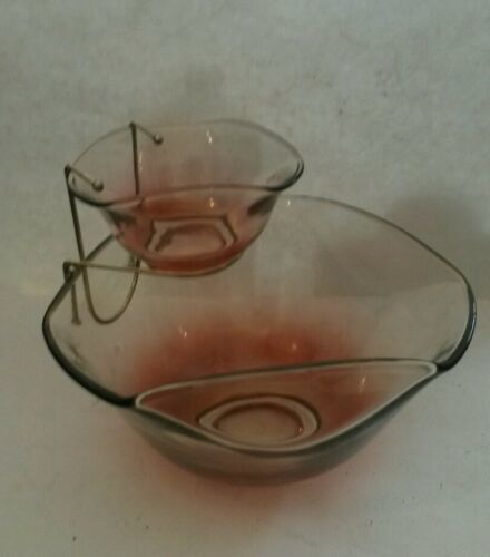 Mid Century Indiana Glass Chip & Dip 3 Piece Set Pink Clear