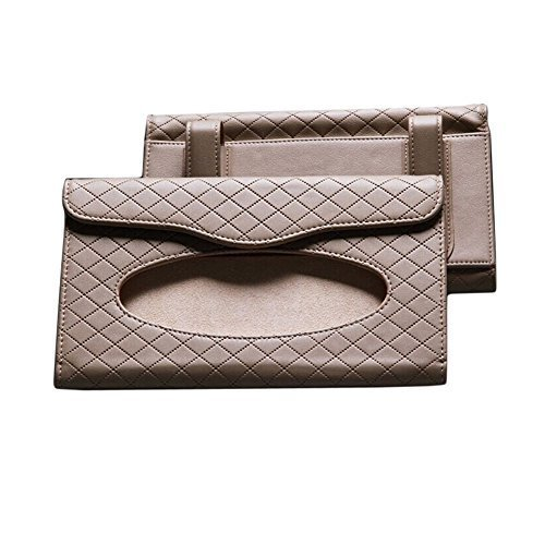 Rhombus Microfiber Leather Car Visor Tissue Case Tissue Holder(23134CM, Beige)