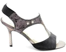 Sam Edelman Miriam Women Slingback Heels US 7M Silver Snake Print Black Leather - $24.29