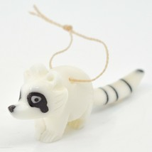 Hand Carved Tagua Nut Carving Raccoon Hanging Ornament Made in Ecuador image 2