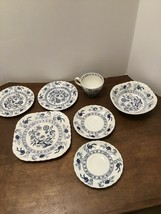 Johnson Brothers Blue Nordic Onion Ironstone Lot Of 7 Plates Saucers Cup Bowl - $30.00