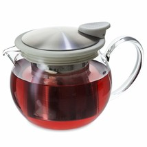 FORLIFE Bola Glass Teapot with Basket Infuser, 15-Ounce/444ml, White - £26.09 GBP