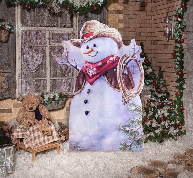 Primary image for Little Cowboy Snowman Standee Outdoor Stand Up Decoration Lifesize Holiday