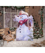 Little Cowboy Snowman Standee Outdoor Stand Up Decoration Lifesize Holiday - $59.35