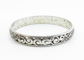 925 Sterling Silver - Vintage Baroque Swirl Detailed Bangle Bracelet - B6049 image 2
