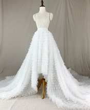 High Low Tulle Skirt Wedding Bridal Tiered Tulle skirt Champagne Tulle Ball Gown image 4