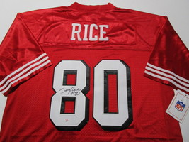 JERRY RICE / NFL HALL OF FAME / AUTOGRAPHED S.F. 49ERS THROWBACK JERSEY / COA image 1