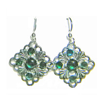 "1/2"" Filigree Dmnd/Green Glass/Crystal ST Drop Earrings - $11.99"