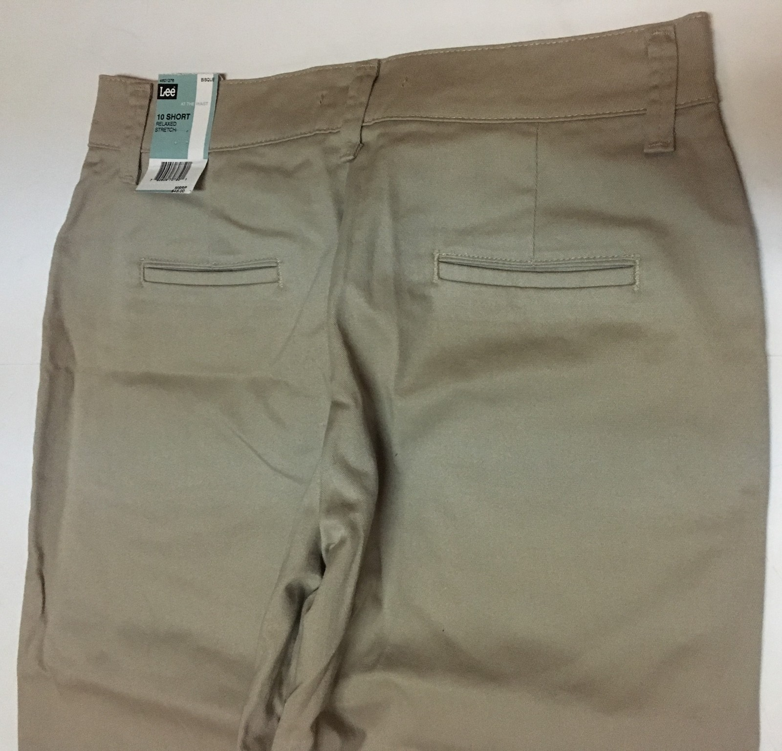 Lee Relaxed Fit Stretch Beige Pants Sz 10 Short Straight Leg NWT image 8