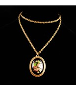Large Antique style Victorian necklace - 1928 cloisonne like - hand pain... - $85.00
