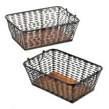 Woven Iron Storage Baskets w/ Pine Wood Base & Handles Set of 2 - $42.95