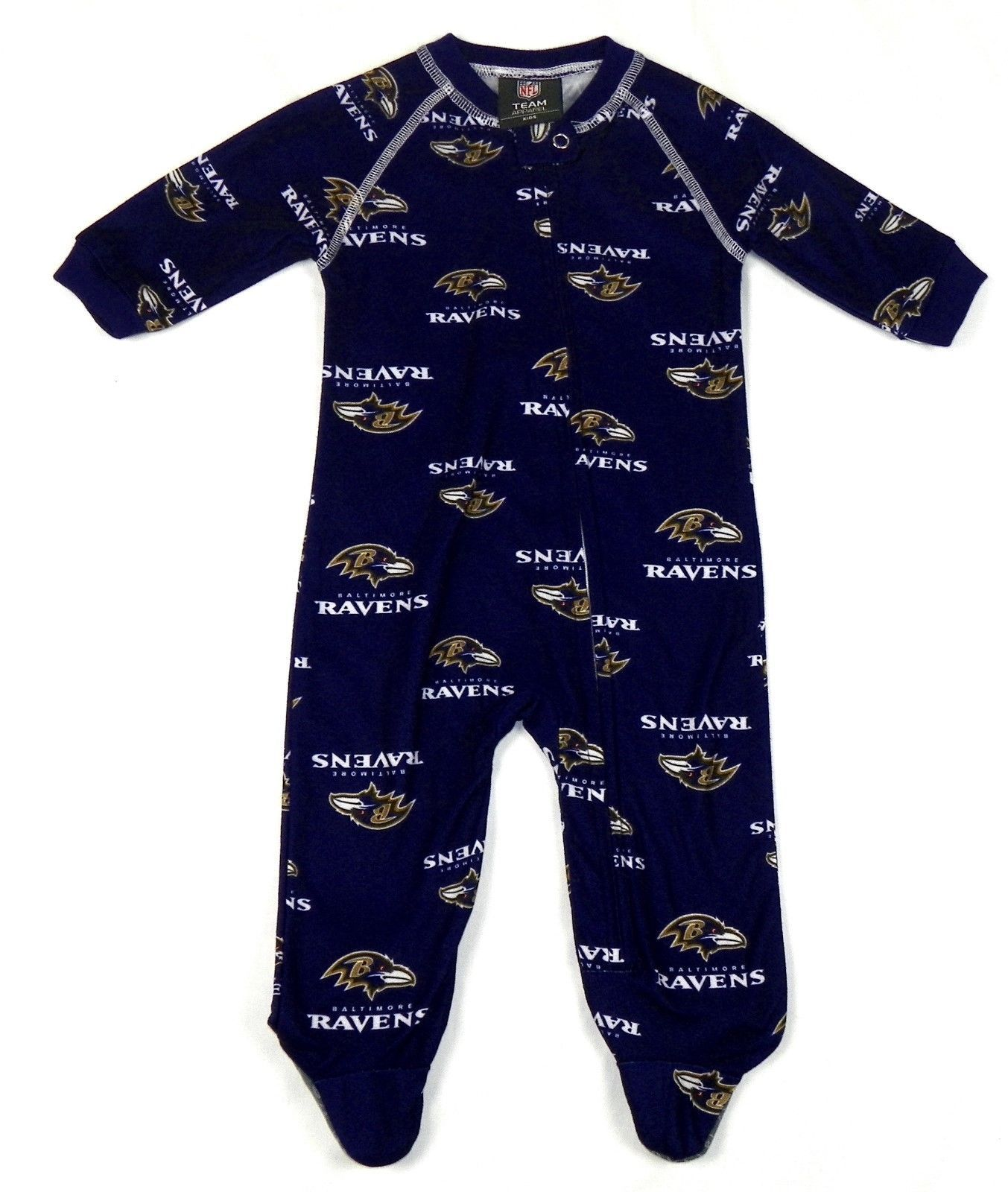 Baltimore Ravens Infant Coverall NFL Football Baby Full Footed Sleeper Pajamas