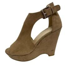 Nine West Madigan wedge sandals shoes textile upper nude size 5.5M  - $14.84