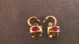 Vintage Gold Tone Yellow & Pink Cabachon Pierced Dangle Earrings 1980 VG+ - $59.99