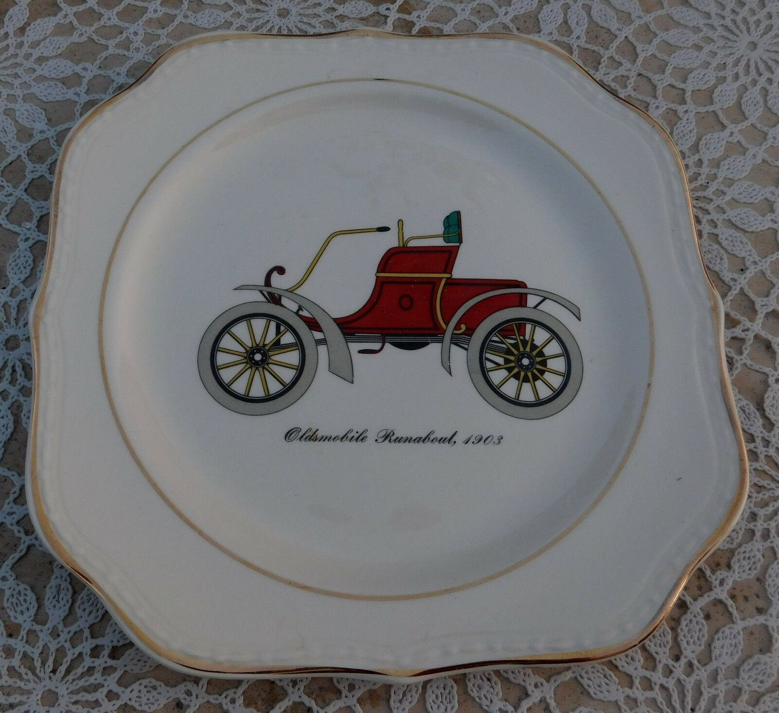Vintage Homer Laughlin Eggshell Georgian Antique Car 3 Square Salad Plates