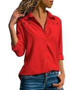 Lovezesent Women's Chiffon Long Sleeves V Neck Button Down Shirts Blouse... - $23.36+