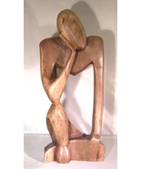 Ghana Ebony Wood The Thinker Hand Carved African Carving Sculpture - $21.95