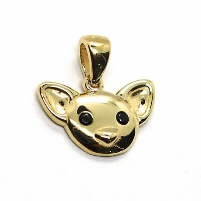 18K YELLOW GOLD MINI PENDANT, CHIHUAHUA DOG, SMOOTH BLACK ZIRCONIA MADE IN ITALY