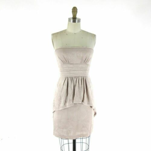 2 - BCBG Max Azria Stunning Nude Sepia Strapless Cocktail Party Dress 0000MB