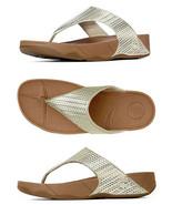 FitFlop Women's Lulu Weave Pale Gold  Wedge Platform Sandals Flip Flop F... - $49.99
