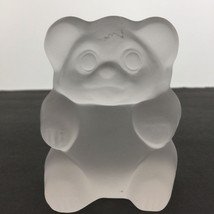 """Vintage Imperial Lenox Frosted Glass Sitting Bear Paperweight Figurine Heavy 4"""" - $23.12"""