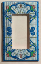 Stained blue glass art Light Switch Outlet Wall Cover Plate Home Decor image 5
