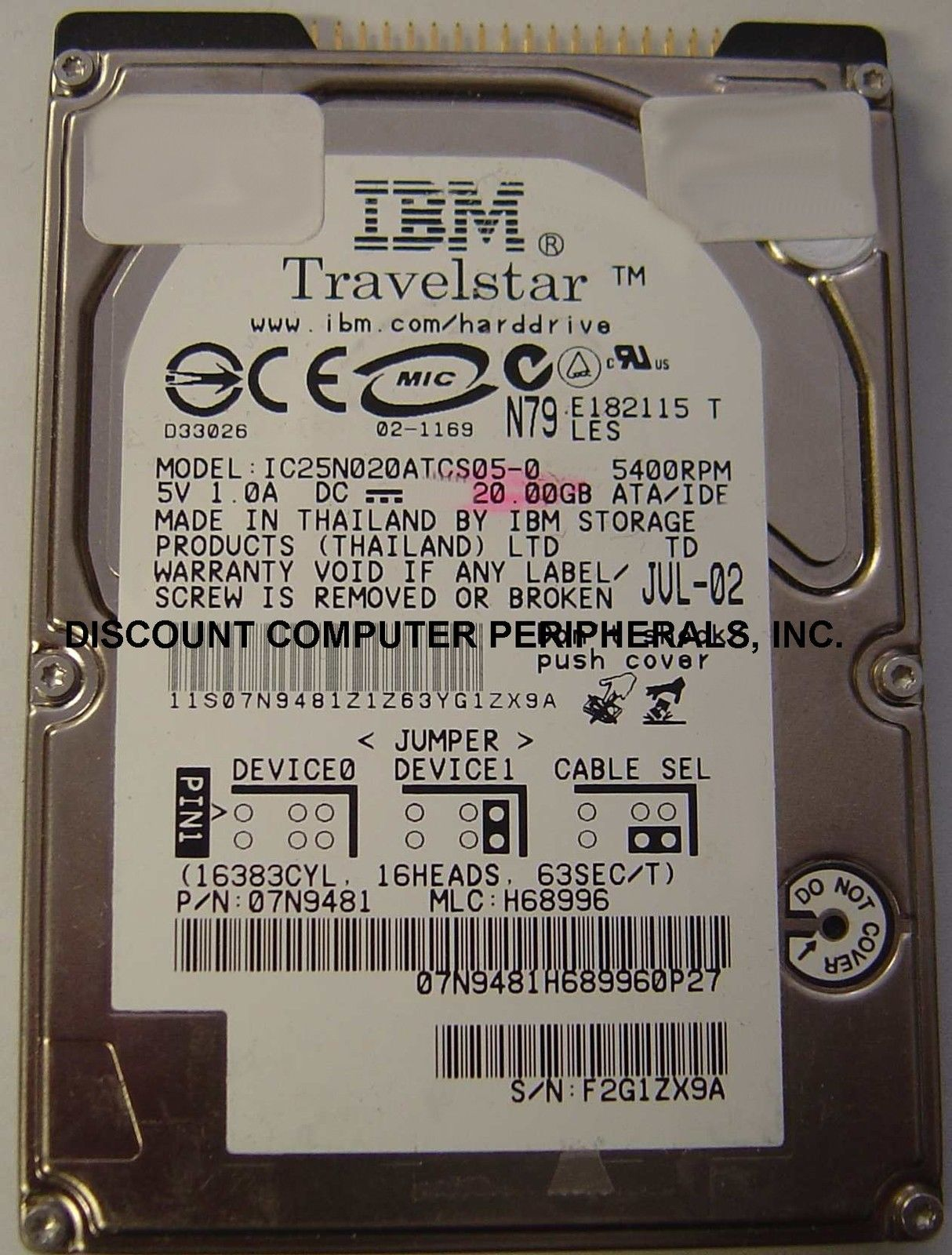 IBM IC25N020ATCS05-0 20GB 2.5in 9.5MM IDE 44PIN Hard Drive Our Drives Work