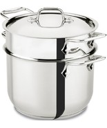 All-Clad E414S6 Stainless Steel Pasta Pot and Insert Cookware, 6-Quart, ... - $96.71
