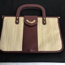 Etienne Aigner Woven Straw Leather Purse Handbag Ox Blood , Gold Colored... - $16.83