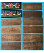 Tibetan antique  Buddhist book Shakyamuni mantra copper Buddha wooden co... - $135.00