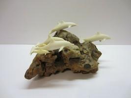 Vtg Burl Wood Driftwood Dolphin Sculpture Statue Art John Perry - $54.95