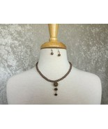 CLEARANCE---6mm Metallic Brown Pearl with Shamballa Bead Earrings & Neck... - $12.50