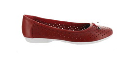 Clarks Perforated Leather Ballet Flats Gracelin Lea Red 8.5M NEW A306040 - $40.57