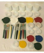Battat Childrens Paint Cups And Brushes Set Kids Creative Art Painting Lot  - $14.99