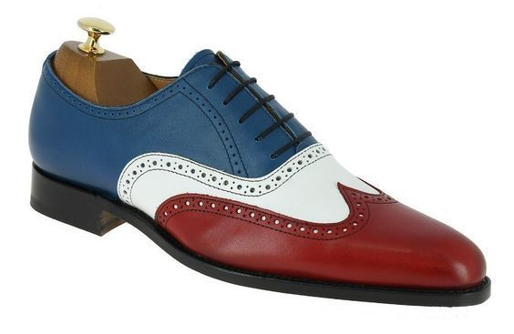 Mens Made To Order Multi Color Vintage Leather Wing Tip Rounded Toe Oxford Shoes image 2
