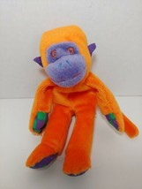 Gymboree Gymbabies small plush beanbag monkey orange purple green checks... - $9.89