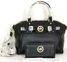 MICHAEL KORS HUDSON BLACK GOLD LARGE SATCHEL BAG +/OR MATCHING WALLETNWT! - $99.99+