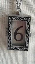 "32""VINTAGE MOD FASHION #6 PEWTER FAUX LOCKET WINDOW 1.5""PENDANT NECKLACE... - £3.57 GBP"
