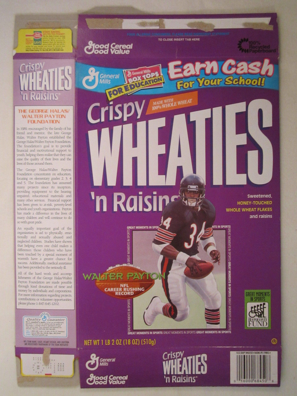 Primary image for Empty WHEATIES Box 1998 18oz WALTER PAYTON Career Rushing Record [Z202b2]