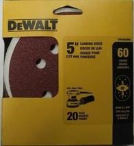 """DeWALT DWAS58060 5"""" 5 or 8 Hole Sanding Discs 60 Grit Hook & Loop 20 Pack - $4.46"""