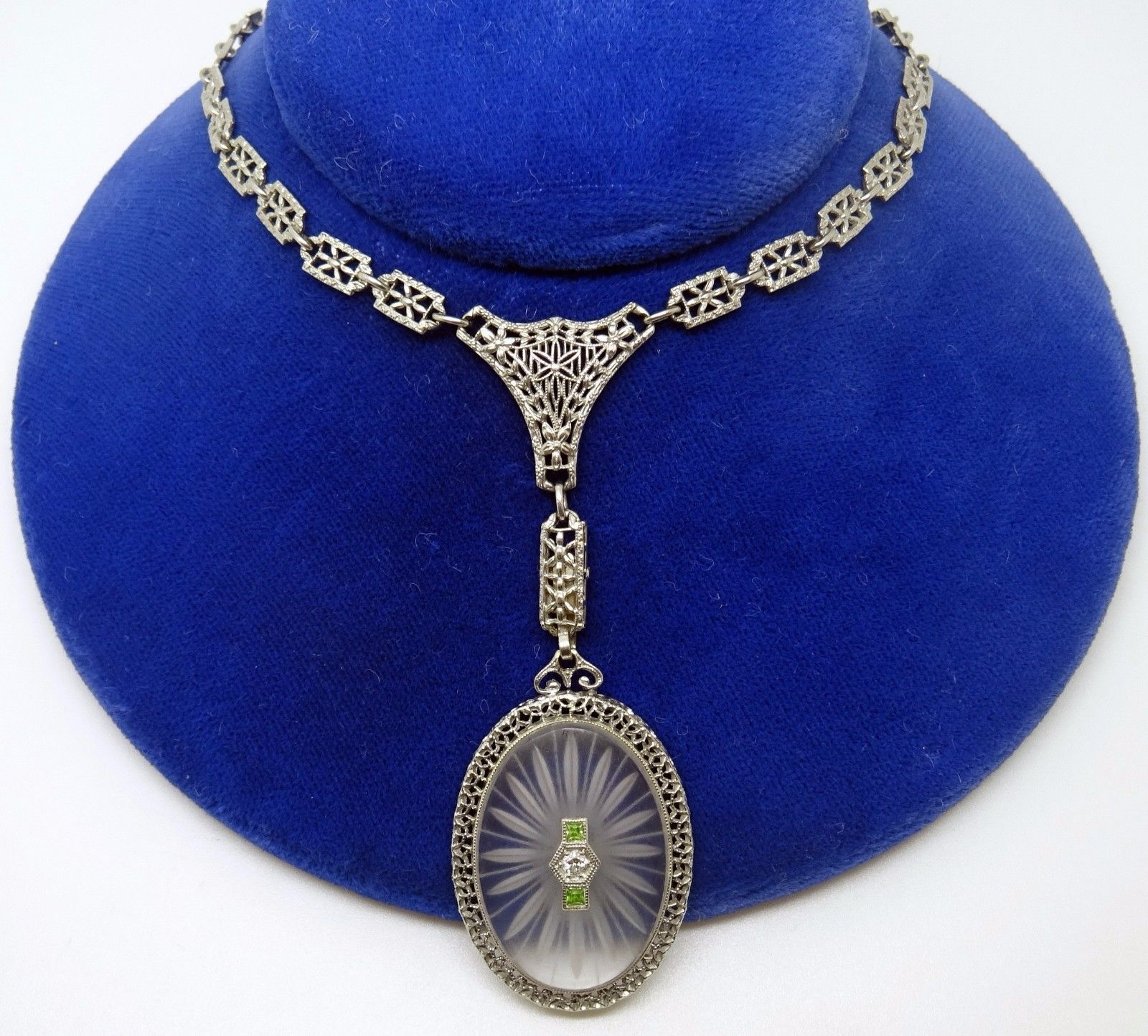14k Deco Genuine Natural Rock Crystal Necklace with Filigree Chain (#3433)