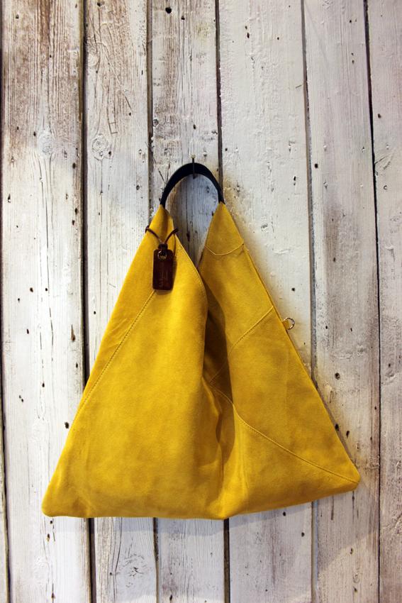 TRIANGLE BAG handmade suede bag
