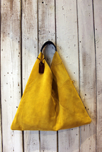 TRIANGLE BAG handmade suede bag image 1
