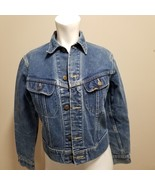 "Ladies Lee Blue Denim Jean Jacket  34"" Chest  Made USA Biker Trucker - $48.33"