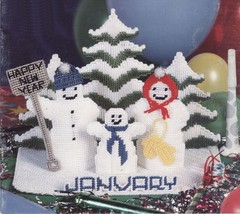 Plastic Canvas Snowman Family Centerpiece Coaster Candy Dish Magnets Pattern - $11.99