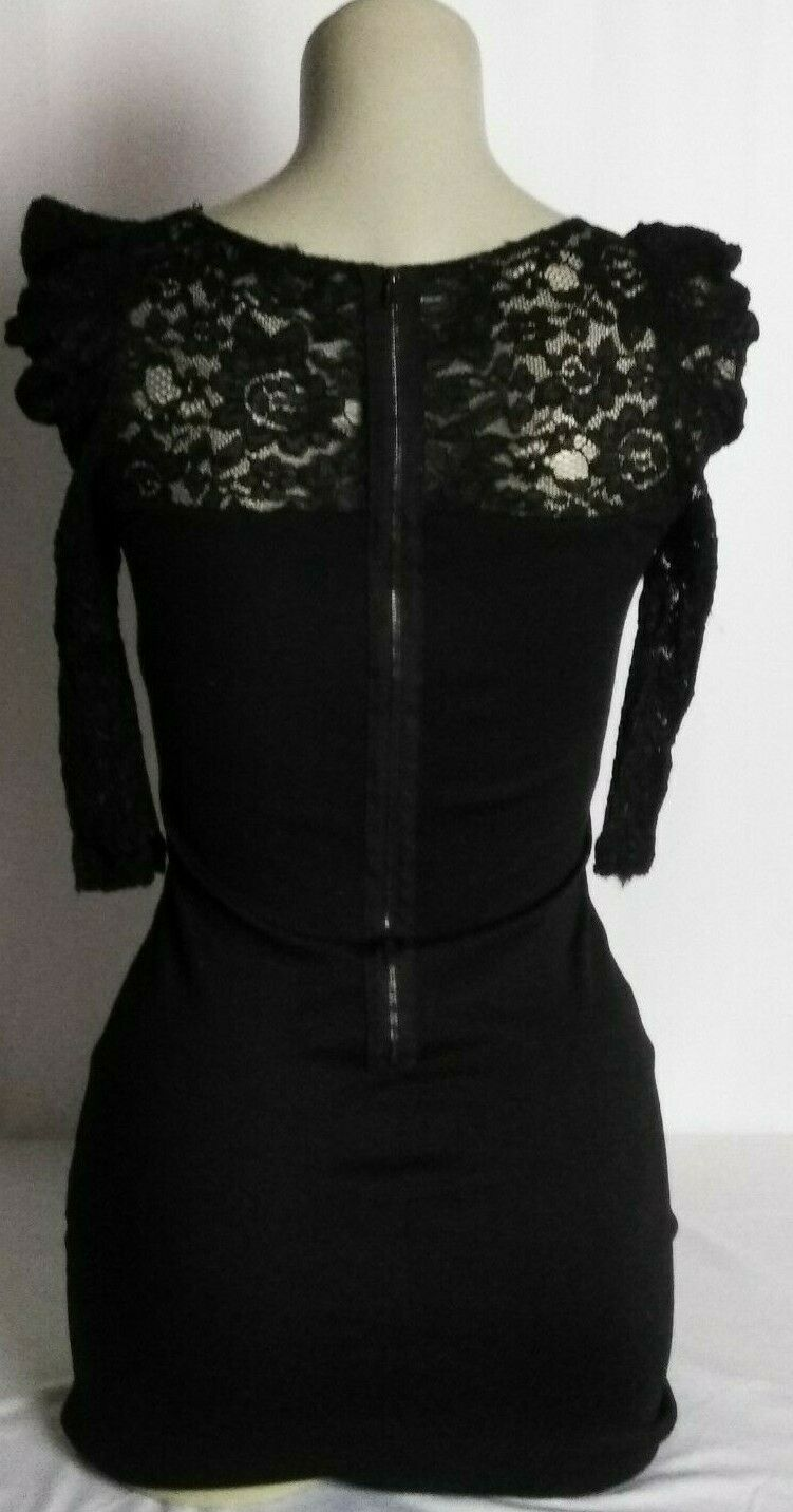 Forever 21 Womens Lace 3/4 Sleeve Dress Back Zip Black Size S Small