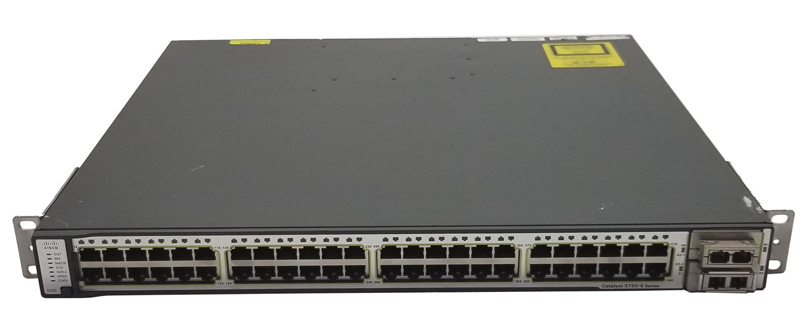 Cisco C3750E-48TD-S 48 Port Managed Switch + 2 X2 10G Uplinks Bin:1