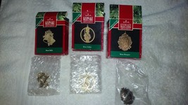 Hallmark Keepsake set of 3 Miniature brass ornaments bells,soldier & bouquet NIB - $9.99