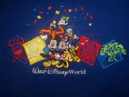 Walt Disney World S/S Blue Shirt Embroidered Mickey Minnie Donald Pluto Goofy XL - $14.64