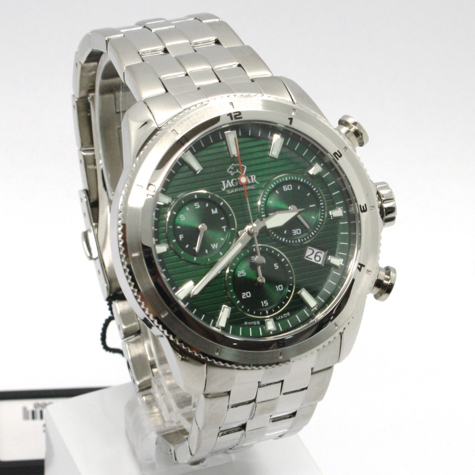 JAGUAR WATCH, SWISS MADE, SAPPHIRE CRYSTAL, 45 MM CASE, GREEN, CHRONOGRAPH, DATE